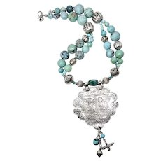 Antique Indian Silver Pendant, Turquoise Necklace