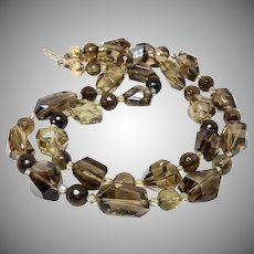 Large Faceted Clear Smokey Quartz Nugget Necklace