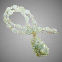 Carved Natural Green Jade Dragon with Aquamarine Necklace