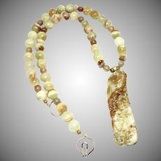 Carved Golden Jade Phoenix, Variegated Green Onyx Necklace