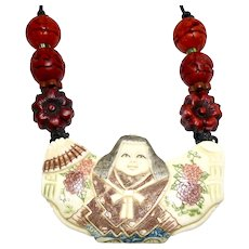 Carved Bone, Red Cinnabar Chinese Lady Necklace