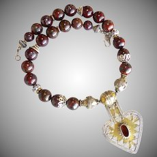Turkoman Silver and Brass Pendant with Brecciated Red Jasper Necklace
