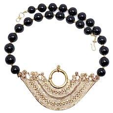 18K Gold Vermeil Peruvian Inca Pendant, Black Onyx Necklace