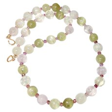 High Quality Kunzite, Pink Tourmaline Necklace, 14K Gold