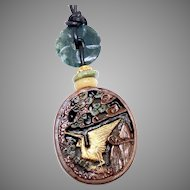 Chinese Boxwood Stork and Men in a Garden Pendant Necklace