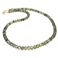 Gem Quality Faceted Green Tourmaline Necklace
