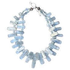 Silvery Iridescent Blue Kyanite Drops Necklace