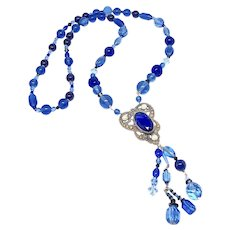 Antique Victorian Pendant with Cobalt, Vintage Peking Glass Necklace