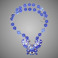 Vintage Chinese Enameled Butterfly, Blue Peking Glass Necklace
