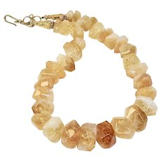 Large Chunky Natural Golden Citrine Nuggets Necklace