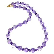 Brilliant High Quality Faceted Purple Amethyst, 18k Gold Vermeil Necklace