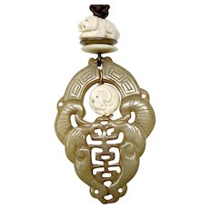Carved Serpentine Double Phoenix, Bone Dogs Pendant Necklace