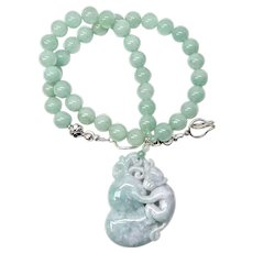 Hand Carved Natural Green Jade Monkey, Aventurine Necklace
