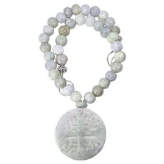 Natural Jade Double Happiness, Jade Melon Necklace