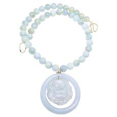 Carved Aqua Jade God Of Happiness, Aquamarine Necklace