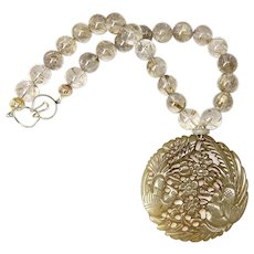 Carved Serpentine Birds, Golden Rutilated Quartz Necklace
