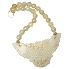 Vintage Carved Golden Jade Dragons with Golden Serpentine Necklace