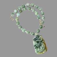 Carved Natural Green Jade Dragon Burmese Jade Necklace