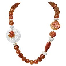 White Jade Double Happiness, Carnelian Agate Necklace