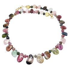 Exceptional Quality Rainbow Tourmaline Necklace