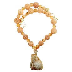 Red Jade Dragon, Carved Peach Agate Necklace