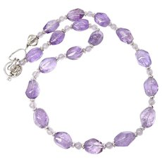 Purple Amethyst Nuggets, Sterling Silver Necklace
