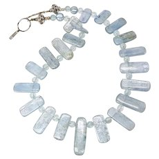 Silvery Blue Kyanite, Aquamarine and Sterling Silver Necklace