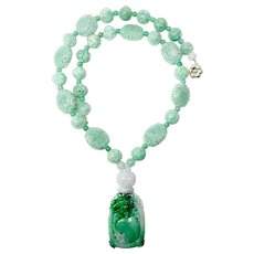 Stunning Carved Chinese Green Jade Necklace -14K Gold