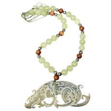 Vintage Carved Jade Dragon and Jade Necklace