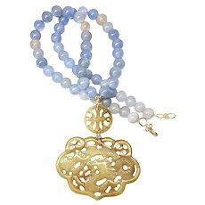 Carved Golden Serpentine Dragon, Natural Blue Agate Necklace