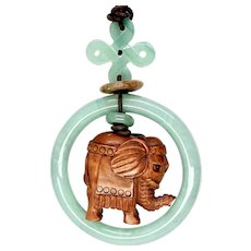 Hand Carved Boxwood Elephant Netsuke Pendant Necklace