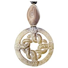 Carved Vintage Jade Intertwined Serpents Pendant Necklace