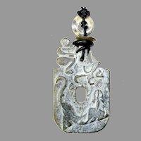 Vintage Carved Jade Pendant Necklace