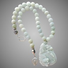Carved Bluish Green Jade Pendant With Jade Beads Necklace