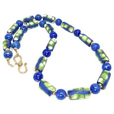 Old African Tribal Glass and Lapis Necklace