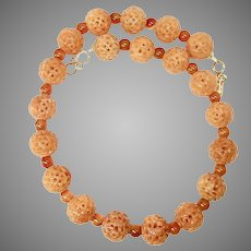 Carved Peach Agate and Carnelian Necklace