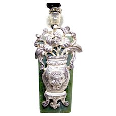 Antique Chinese Silver Garment Ornament, Green Etched Jade Pendant Necklace