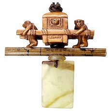 Boxwood Monkeys Pulling Rickshaw, Serpentine Pendant Necklace