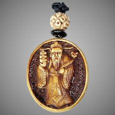 Carved Wood God of Longevity Pendant Necklace