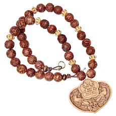 Carved Chinese Boxwood, Carved Wood Necklace
