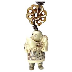 Carved Bone Chinese Netsuke Pendant Necklace - Signed