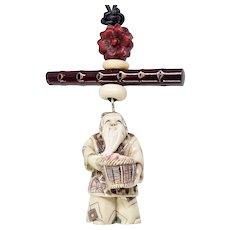 Carved Chinese Bone Fisherman Netsuke Pendant Necklace