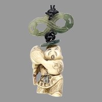 Vintage Carved Bone Netsuke Pendant Necklace
