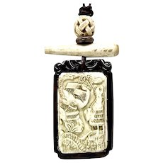 Carved Bone Chinese Mountain Scene Pendant Necklace