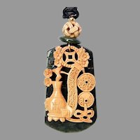 Chinese Carved Wood Bird Cage Decor Pendant Necklace