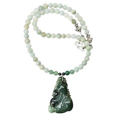 Carved Dark Green Spinach Jade Necklace