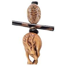 Boxwood Deer Netsuke Pendant Necklace
