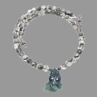 Carved Green Jade Fish Lodalite Necklace