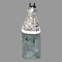 Antique  Chinese Silver Finger Puppet, Etched Jade Pendant Necklace