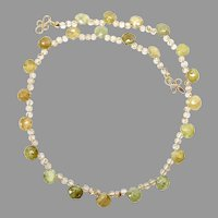Faceted Green Garnet Tear Drops Necklace